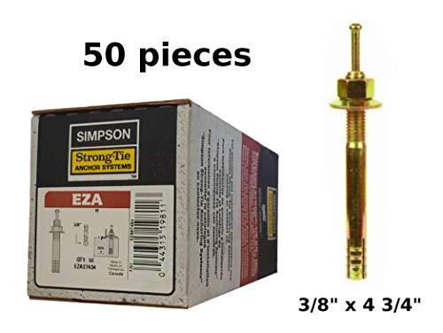 """Simpson Strong Tie Easy Set pin Drive Concrete Anchor 3/8"""" x 4 3/4"""" EZA37434 Expansion Anchor 50/Box"""