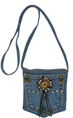 Blue Denim Small Mini Pouch Crossbody Bag with Beads, Studs and Suede Fringe