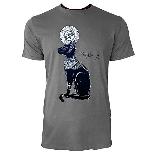 SINUS ART ® Ägyptische Katze mit Auge des Horus Herren T-Shirts in Grau Charocoal Fun Shirt mit tollen Aufdruck