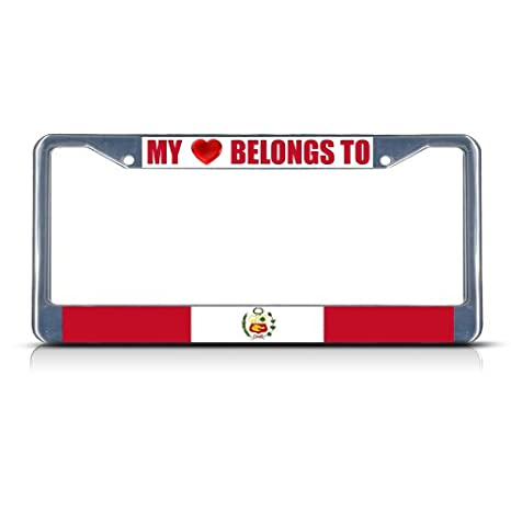 Peru With Hearts Chrome Metal License Plate Frame