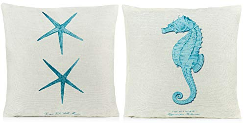 Beach Pillows Decorative Throw Pillows |Coastal Throw Pillows Covers 2 Pack 18 x 18 Inch| Beach Theme Couch Pillow Covers with Starfish & Seahorse