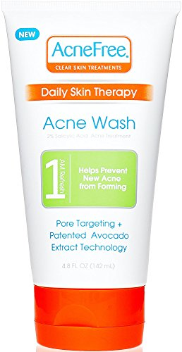 AcneFree Daily Acne Face Wash 4.8 oz with 2% Salicylic Acid, Facial Cleanser to Help Prevent Acne Whiteheads and Blackheads plus Avocado Extract Acnefree Cleanser