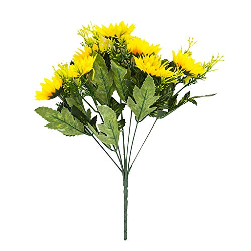 (Artificial Flowers, Fake Sunflowers Silk Flowers Table Centerpieces Arrangements Home Indoor Decorations Wedding Party Decor(Vase is not Counted))