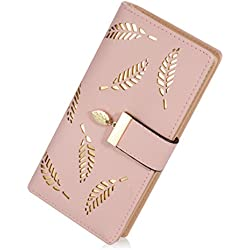 Women's Long Leaf Bifold Wallet Leather Card Holder Purse, Pink, Size One Size