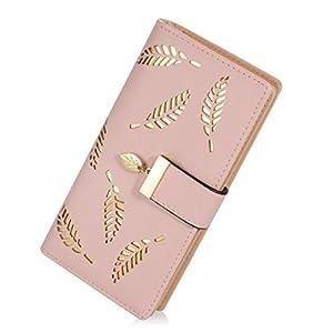 Women's Long Leather Card Holder Purse Zipper Buckle Elegant Clutch Wallet (long pink)