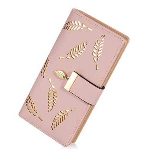 Women's Long Leaf Bifold Wallet Leather Card Holder Purse Zipper Buckle Elegant Clutch Wallet Handbag (Pink)