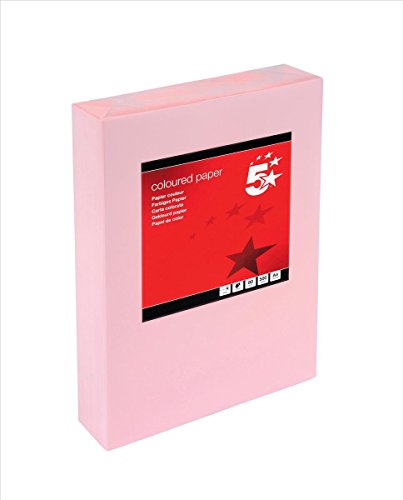 5 Star Office Coloured Copier Paper Multifunctional Ream-Wrapped 80gsm A4 Light Pink [500 Sheets] ()