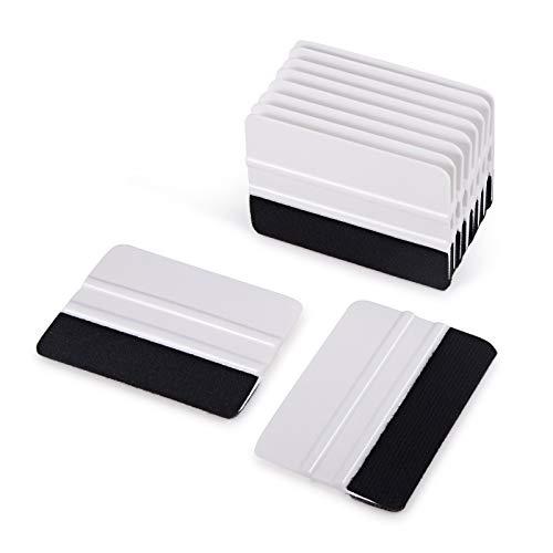 Ehdis [10PCS Felt Edge Squeegee 4 inch for Car Vinyl Scraper Decal Applicator Tool with Black Fabric Felt Edge - White PP Scraper -