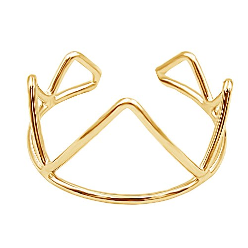 Crown Adjustable Ring (METTU Adjustable Open Crown Irregular Geometric Ring for Women (Gold))