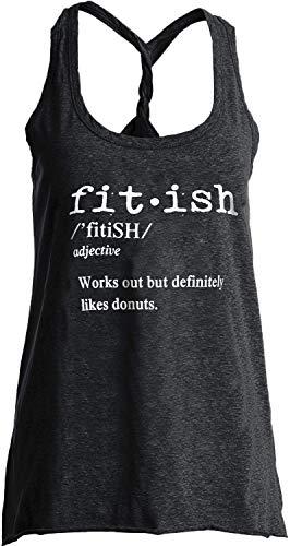 IRISGOD Womens Workout Tank Tops Summer Graphic Twisted Back Gym Sleeveless Tshirt Tops Dark Gray