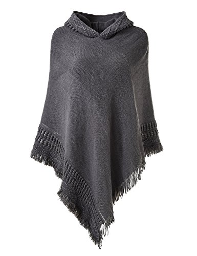 Ferand Ladies' Hooded Cape with Fringed Hem, Crochet Poncho Knitting Patterns for Women, Grey