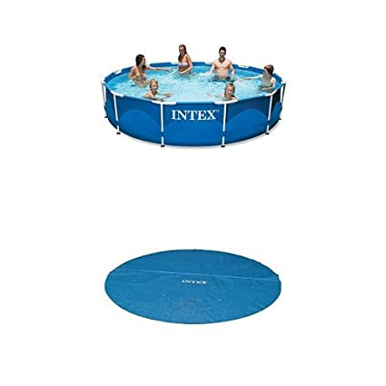Amazon.com : Intex 12ft X 30in Metal Frame Pool Set and Cover Bundle ...