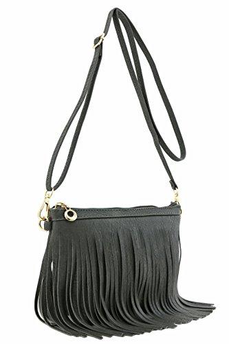 Small Fringe Crossbody Bag with Wrist Strap (Dark Grey) (Wrist Bag Large)