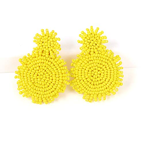 - Yellow Statement Round Beaded Hoop Dangle Bohemia Earrings Handmade Whimsical Drop Earrings for Women Jewelry, Idear Gifts for Mom, Sisters and Friends