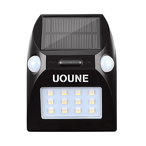 UOUNE Solar Lights, Solar Motion Sensor Wall Lights Outdoor Lights 12 RGBW LEDs Dual Motion Sensor Security Lights for Stairway Patio Deck Yard Garden Landscape For Sale