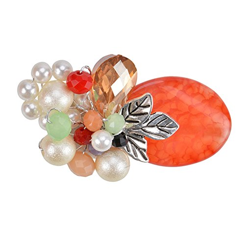 Acrylic Pearl Flower Brooch (Exquisite Handmade Pearl Flower Charm Brooch Pin Banquet Brooch for Women Girls Fashion Accessory)