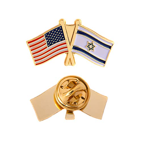 (Israel Country Double Flag Lapel Pin Enamel with United States USA US Souvenir Hat Men Women Patriotic Israeli (Double Flag Pin))