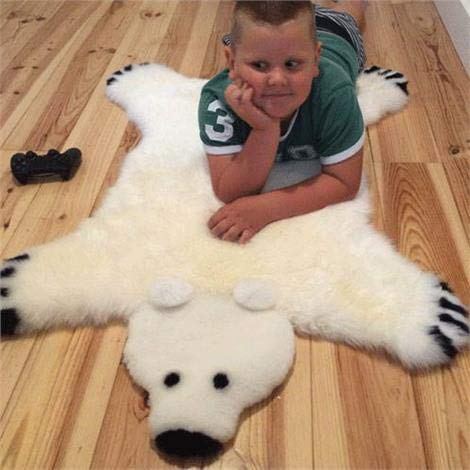 Genuine Irish Sheepskin Polar Bear Rug for Babies