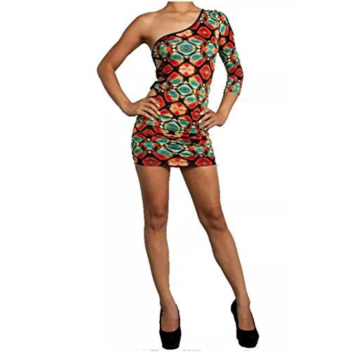 Womens Dress One Shoulder 3/4 Slv Kaleidoscope Colorful Open Side Waist (L, Multi)