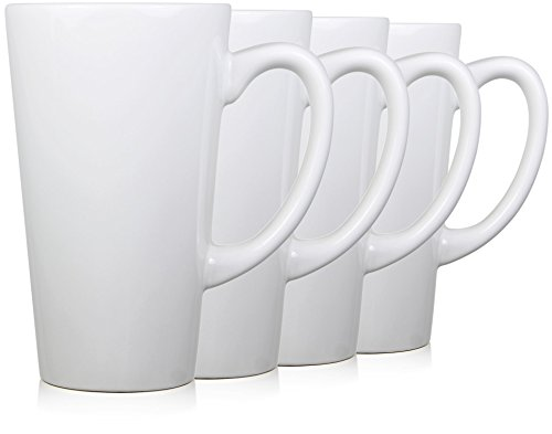 Serami 15oz White Funnel Tall Mugs for Coffee or Tea. Large Handles and Ceramic Construction, Set of 4 -