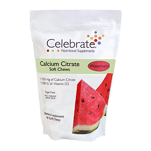 Celebrate Vitamins Calcium Citrate Soft Chews - 500 mg - Watermelon - 90 Count