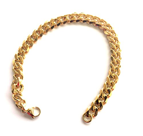 Cuban-Link-Bracelet-9MM-Smooth-Round-Thick-24K-Overlay-Hip-Hop-Fashion-Jewelry-for-Men-Looks-Feels-Solid
