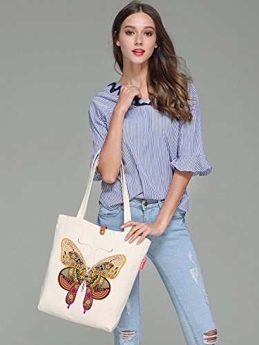 Womens Top Geometry Canvas Butterfly Bag Soeach Graphic Shoulder Tote Handle axIpqqdn