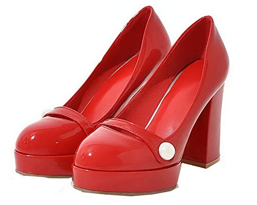 Tacón De Sin Aalardom Alto Zapatos Mujeres Sólido Tsmdh004340 Cordones Tacón Charol Rojo wq7zXw