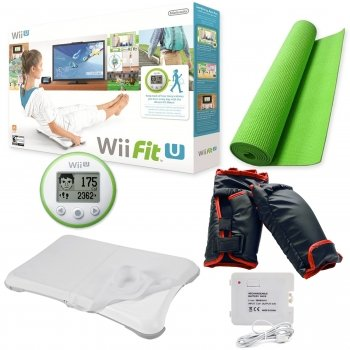 Wii Fit U Boxing Bundle Boxing Glove Fitness Family Yoga Balance Board Fit Meter Clear Silicone Cover Nintendo Indoor Yoga Mat Rechargeable Battery Pack Summer Fun