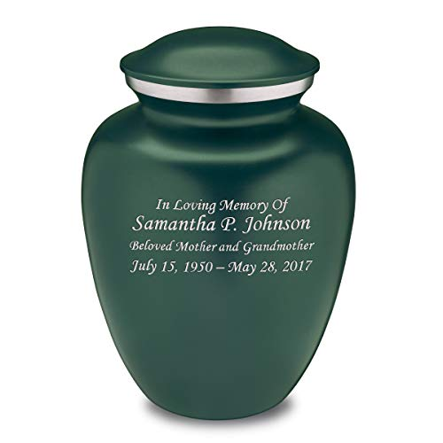 Custom Engraved Embrace Adult Cremation Urn for Ashes Green