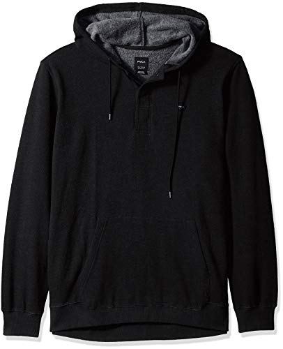 RVCA Men's Lupo Pullover Hooded Fleece Sweatshirt, Black, M