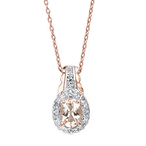 Genuine Pink Morganite and White Topaz Rose Gold-Plated .925 Silver Pendant Necklace 18
