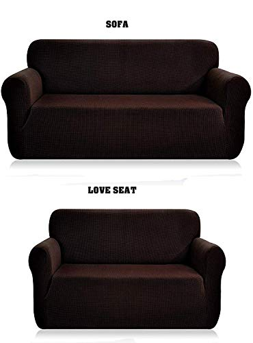 Luxury Home Collection 2 Piece Sure Fit Stretch Fabric Slipcover For Love Seat And Sofa Cover Solid Brown/Chocolate (For Sofa Sets Fabric Sale)