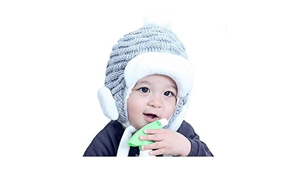 Amazon.com  ZEHAT Black Grey Red Knitting Wool Crochet Beanie Hat With Fur  Ball Fashion Hats Baby Girls Boys CapsWarm Headwrap  Clothing 3584024e8242