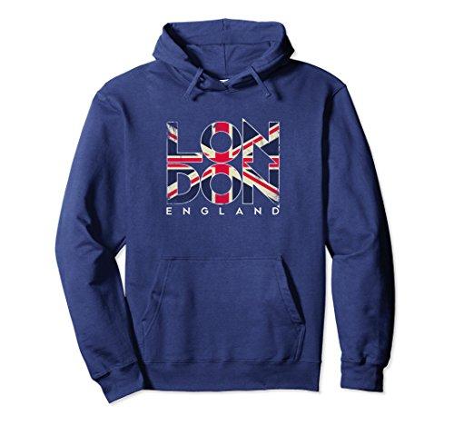 (Unisex London England Flag Travel Souvenir Hoodie XL Navy)