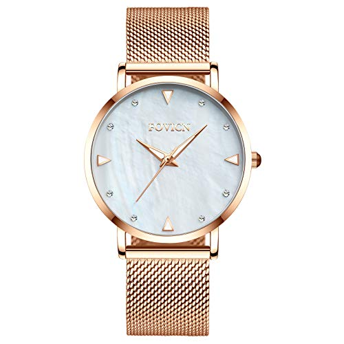 Women Lady Dress Analog Quartz Watch with Stainless Steel Band, Casual Fashion Waterproof Watches Diamond Rhinestone Wristwatch-White