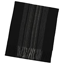 Imperial Men\'s Cashmere Scarf One-Size Black with Grey Herringbone and Solid Stripe Design
