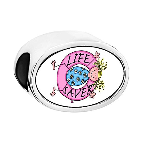 GiftJewelryShop Silver Plated Life Saver Photo White Crystal(April Birthstone) Love Oval Bead Charm Bracelets