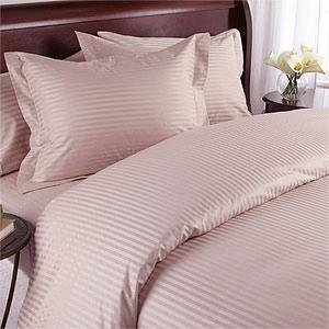 600 Thread Count Queen Siberian Goose Down Alternative Comforter [600FP, 50 Oz] with 100% Natural Combed Cotton Stripe Damask Cover - Blush