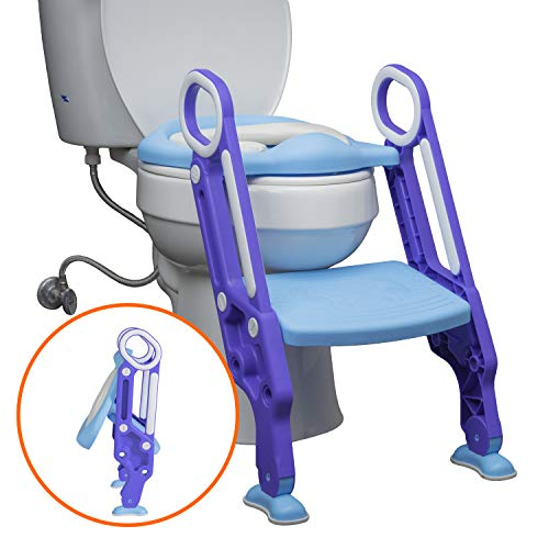 Potty Training Seat with Ladder by Learn Laugh Love Kids - Toddler Toilet Seat for Boys & Girls Adjusts to Fit Most Toilets & Folds to Become Portable Potty Seat for Toddler - Easy & Safe Potty Chair
