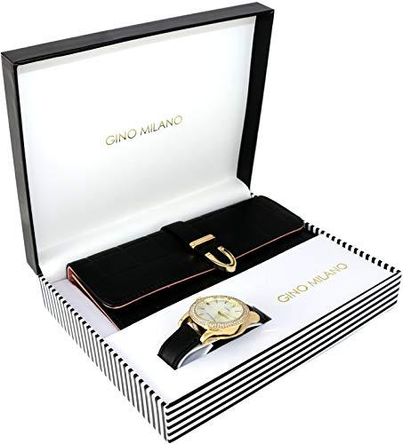 Women's Matching Watch & Wallet Gift Set - Black