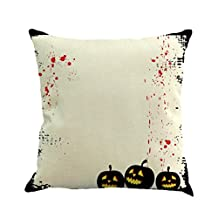 Bats Carnival Dark Decorative Pillowcases,Woaills Halloween Pillow Cases Flax Square Sofa Home Decor Cushion Cover (F)
