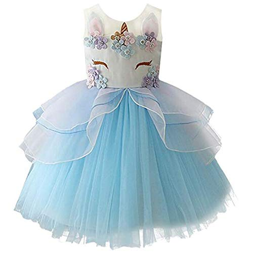 yeesn Girls Princess Unicorn Costume Tulle Tutu Dress Summer Sleeveless Costume Birthday Party Fancy up Dress (Blue, 130cm (Recommend for 5-6 Years Old))