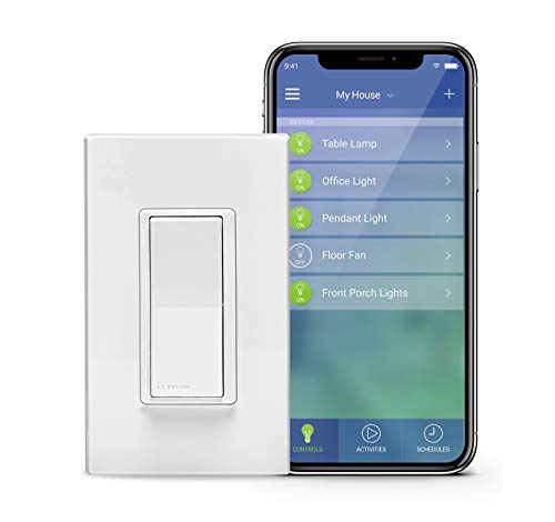 Leviton DW15S-1BZ Decora Smart Wi-Fi 15A Universal LED/Incandescent Switch, Works with Amazon Alexa, No Hub Required ()