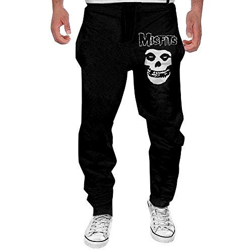 Black Static Jerseys (Men's Misfits Fiend Skull Elastic Jersey Sweatpants Black M)