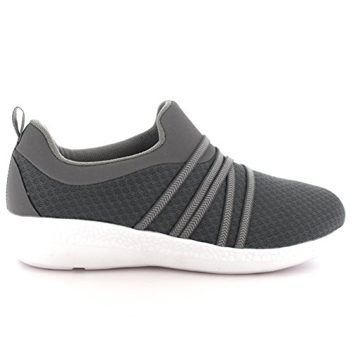 Mujer Ligero Malla Para Caminar Confortable Padded Zapatos Plano Entrenadores Gris/Blanco