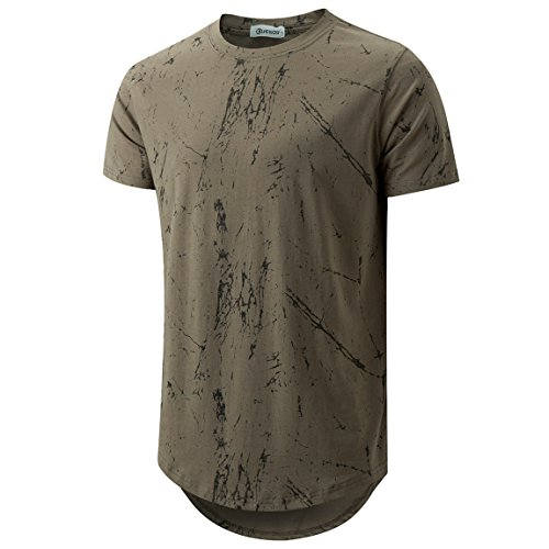 (KLIEGOU Mens Hipster Hip Hop Ripped Round Hemline Pattern Print T Shirt 86 ArmyGreen2 M)