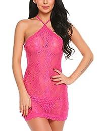 Avidlove Women Lingerie Lace Sleepwear Floral Babydoll Backless Teddy Outfits