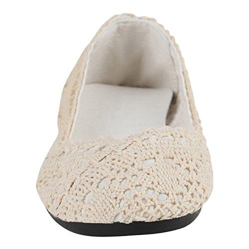 Stiefelparadies Klassische Damen Ballerinas Glitzer Slipper Übergrößen Leder-Optik Schuhe Denim Slip Ons Flats Schlupfschuhe Flandell Creme Spitze