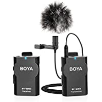 BOYA BY-WM4 2.4GHz Wireless Lavalier Lapel Mic, Omnidirectional Mic System Audio Recording with Easy Clip On, 3.5mm Plug for Canon Nikon Sony DSLR Camera, Camcorder, iPhone 7 / 7 plus